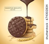 chocolate digestive biscuits... | Shutterstock .eps vector #674302834