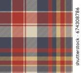 red blue tartan fabric texture... | Shutterstock .eps vector #674308786