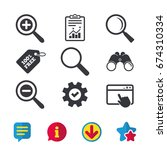 magnifier glass icons. plus and ...