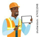 young african american builder... | Shutterstock .eps vector #674311048