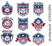 american volleyball team labels.... | Shutterstock .eps vector #674311894