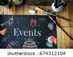 celebration birthday party... | Shutterstock . vector #674312104