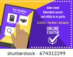 online education concept.... | Shutterstock .eps vector #674312299
