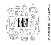 set of hand drawn doodle baby... | Shutterstock .eps vector #674313970