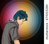 portrait cartoon of young man... | Shutterstock .eps vector #674315284