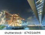 cargo port and bridge in hong... | Shutterstock . vector #674316694