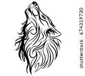 wolf head howl design tribal... | Shutterstock .eps vector #674319730