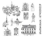 tallinn  estonia. vector sketch ... | Shutterstock .eps vector #674320219