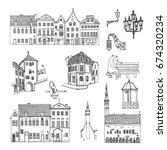 tallinn  estonia. vector sketch ... | Shutterstock .eps vector #674320234