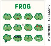emoticons set face of frog in... | Shutterstock .eps vector #674322040