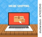 online shopping concept. laptop ... | Shutterstock .eps vector #674323543