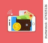 vector digital mobile wallet... | Shutterstock .eps vector #674325136