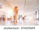 woman travel in international... | Shutterstock . vector #674325694