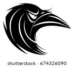 stylized black and white raven... | Shutterstock .eps vector #674326090