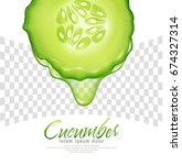 vector slice of cucumber with a ... | Shutterstock .eps vector #674327314