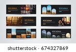 set of black horizontal web... | Shutterstock .eps vector #674327869