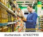 man making choise about two... | Shutterstock . vector #674327950