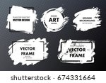 set of paint  ink brush strokes ... | Shutterstock .eps vector #674331664