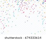 confetti and colorful ribbons.... | Shutterstock .eps vector #674333614