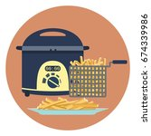 flat vector colorful fryer with ... | Shutterstock .eps vector #674339986