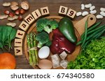foods rich in vitamin b9  folic ... | Shutterstock . vector #674340580