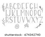 hand drawn vector alphabet with ...   Shutterstock .eps vector #674342740