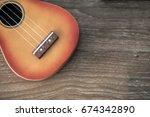 a part of ukulele haiwaiian...   Shutterstock . vector #674342890