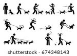 man walking dog. stick figures... | Shutterstock .eps vector #674348143