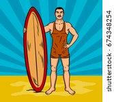 old fashioned surfer pop art...   Shutterstock .eps vector #674348254