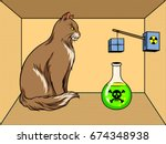 shroedinger cat in box with... | Shutterstock .eps vector #674348938