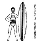 old fashioned surfer engraving... | Shutterstock .eps vector #674348998