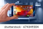 augmented reality application... | Shutterstock .eps vector #674349304