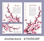 sakura blossoms cards templates.... | Shutterstock .eps vector #674350189