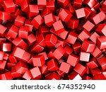 red cubes chaotic 3d background.... | Shutterstock . vector #674352940