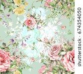 watercolor seamless pattern... | Shutterstock . vector #674354050