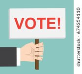 vote   election. hand holds... | Shutterstock .eps vector #674354110