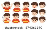 set of adorable boy facial... | Shutterstock .eps vector #674361190