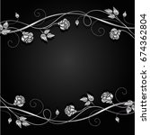 silver flowers with shadow on... | Shutterstock .eps vector #674362804