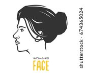 woman s face. black and white ...   Shutterstock .eps vector #674365024