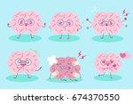 cute cartoon brain on the blue...   Shutterstock .eps vector #674370550