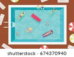 summer swimming pool with... | Shutterstock .eps vector #674370940