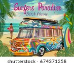 surf poster with retro bus and ... | Shutterstock .eps vector #674371258