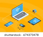 isometric wifi network with... | Shutterstock .eps vector #674373478