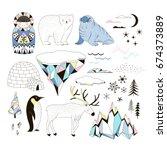 arctic clip arts set | Shutterstock .eps vector #674373889