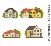 colorful flat residential houses | Shutterstock .eps vector #674375818