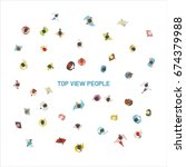 walking people top view vector... | Shutterstock .eps vector #674379988