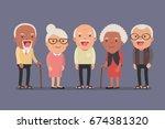 group of elderly people stand... | Shutterstock .eps vector #674381320