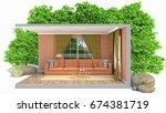 interior living room. 3d... | Shutterstock . vector #674381719