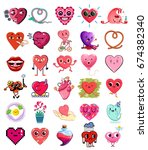 collection of cute heart... | Shutterstock .eps vector #674382340