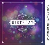 happy birthday typographic for... | Shutterstock .eps vector #674384548